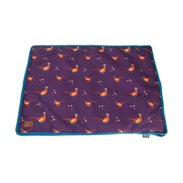Benji & flo patrick the pheasant dog bed - plum wine/turkish teal/amber brown